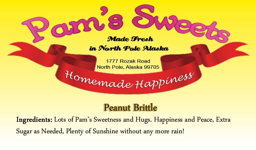 Food label template, designed by Susie for Pam's Sweets.